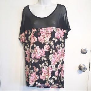 Plus Size Floral Print Mesh Cold Shoulder Top